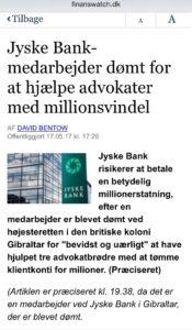 Jyske bank dømt i svindel sag, hjalp 3 advokater med at bedrage deres klienter