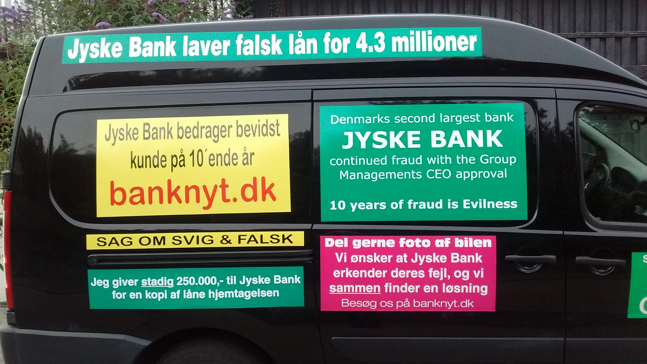 At nogle Danske Banker laver bedrageri er et alvorligt samfundsmæssig problem, og må være landsskadelig virksomhed. Politiet ved det sker, men vender det blinde øje til, mens banker bedrager os kunder. :-( At Danske Banker også nægter at holde op med at bedrage deres kunder, er også et alvorligt samfundsmæssig problem For hvornår bliver det dig banken svindler, har du kræfter til at stoppe svindel, når den er udført af en stor Dansk Bank, som jyskebank men rettet mod dig selv. Vores sag er enkel Det gælder om at få Koncernledelsen i jyske bank til at erkende og undskylde deres medvirken til Jyske Banks mange års bedrageri / svig :-( :-( Da vi opdagede bedrageriet eller mente jyske bank udsatte os for et kæmpe bedrageri Skrev vi det til Koncernledelsen Eksempel. 18 & 19. maj. 2016. Det forsøgte Jyske Banks bestyrelse så 6 måneder efter, mere præcist Den 2. November 2016 at løbe fra. Hvor jyske bank bestyrelses medlem Philip Baruch forsøgte at lokke os til et møde, med en skjult agenda Bestyrelses medlemmet og advokat firmaet Lund Elmer Sandager ville forsøge lokke os, til at lave en rente bytte på et lån, et lån vi faktisk har. Sikkert mod at tilbyde at tilbage betale nogle af de penge jyske bank ved mandatsvig og bedrageri har STJÅLLET ved deres adgang til vores konti. DEN GIK IKKE Jyske Bank har siden kun ville fortsætte bedrageriet, hvilket vi syntes er både ækelt og modbydeligt gjort. Men jyske bank er jo en anderleds bank, en bank som er bevidst om at banken bedrager os og fortsat bare vil bedrage os. :-( :-( :-( Vedr. Svig og Falsk sagen mod jyske bank Hold øje med dato for retsmøde og hoved forhandling. BS 99-698/2015 Vi går i retten for at stoppe den svindel jyske bank ikke selv vil stoppe. :-) FORBEREDELSE TIL HOVEDFORHANDLING: VIDNER: Vidner i jyske bank sagen, der ønskes indkaldt, og måske ikke alle sammen ved at bedrageriet er opdaget, de kan jo læse om sagen på www.banknyt.dk www.tyv.dk Samt flere andre sider. Vi ønsker såmænd bare at disse personer BEKR