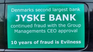 Just ask the Danish bank, jyske bank Why the bank not doe admit Fraud And why the bank not start to apologize all crimes. www.banknyt.dk - What would you say to your bank if they were snatched millions from your account? For alleged interest rate, on a loan, since 1 January 2009, but there is no loan taken. - And you discovered that the bank has lied, exploited That you were ill after a stroke, was was not a problem for jyske bank to deceive you, and for the last 10 years The bank, refuses to quit cheating. -- -- When the Danish banks is cynical and fully aware, about their criminal activities, but nevertheless continue crimes as fraud against the bank's customers. That the Danish customers, do not can trust their own bank Is becoming a huge problem for Denmark, and the Danish bank customers. - And can infect Denmark's reputation, as no-one said that the want to stop the banks many violations of laws and regulations. Ranging from money laundering to the more coarse crimes such as documentary fraud or just fraud - Society can hardly be a major problem for the confidence of the Danish bank's The Danish bank (Jyske bank) Jutland bank has before got a big fine, for money laundering. Money laundering, is a crime against the state, and against all taxpayers in the country, the crime takes place in. - But this does not stop the Danish jyske bank, as now deliberately continues a fraud business. With CEO Anders Dam and Group Management full acept. - Jyske bank is most well known, as the bank is probably good to give bad advice, to earn money to the bank itself. Though the Danish bank is already well known, for providing poor advice that the bank as always hopes for the bad advice is not detected until after 3 years. So the bank with the law can avoid paying compensation with the law in hand. -- -- - - #JYSKE BANK BLEV OPDAGET / TAGET I AT LAVE #MANDATSVIG #BEDRAGERI #DOKUMENTFALSK #UDNYTTELSE #SVIG #FALSK #Bank #AnderChristianDam #Financial #News #Press #Share #Pol #Recommendation #Sale #Firesale #AndersDam #JyskeBank #ATP #PFA #MortenUlrikGade #PhilipBaruch #LES #BirgitBushThuesen #LundElmerSandager #Nykredit #MetteEgholmNielsen #Loan #Fraud #CasperDamOlsen #NicolaiHansen #AnetteKirkeby #SørenWoergaaed #Gangcrimes #Crimes #Koncernledelse #jyskebank #Koncernbestyrelsen #SvenBuhrkall #KurtBligaardPedersen #RinaAsmussen #PhilipBaruch #JensABorup #KeldNorup #ChristinaLykkeMunk #HaggaiKunisch #MarianneLillevang #Koncerndirektionen #AndersDam #LeifFLarsen #NielsErikJakobsen #PerSkovhus #PeterSchleidt - -IMG_20180717_202826791_HDR